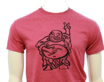 Tall T shirt | Hotei - Happy Lucky Buddha | Men's classic T Shirt | Peace Sign Buddha | Size up to 3X Tall