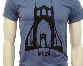 Tall T shirt | St. Johns Bridge Portland | Men's classic T Shirt | up to 3XL | Hometown t shirt | Travel tees.