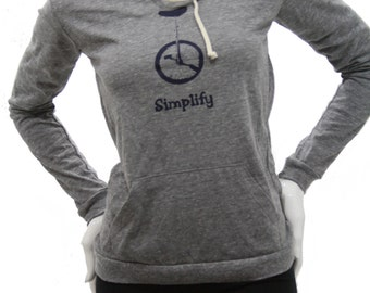 Simplify | Soft Lightweight pullover hoodie | organic cotton blend | Art by MATLEY | Bicycle | Great gift for her | Unicycle bike.
