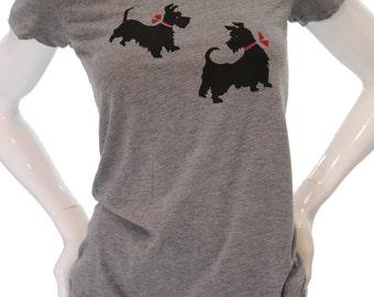 Scottish Terrier | Women's Fitted T Shirt | Soft | Slim fit | Dog print | scoop & Vneck