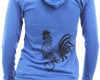Rooster | Full zip Lightweight hoodie | Soft | Chicken | Unisex | Thin zip up hoodie | Sizes XS - XXL