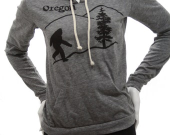 Oregon Bigfoot | Lightweight pullover hoodie | sasquatch | Soft organic cotton bln