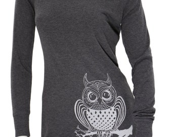 Owl bird | Sweater tunic dress | Soft cocktail dress