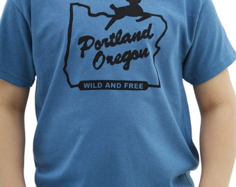 Wild and Free    Youth Tshirt   Portland OR   White stag sign   hometown tees    Destination tee.