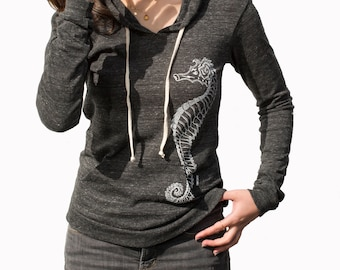 Seahorse | Lightweight Pullover hoodie | Soft organic cotton blend| Art by MATLEY| Zen | Yoga | Jumper | Fish