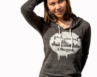 Portland Oregon | Skyline | Lightweight pullover hoodie | Soft organic cotton bln | Jumper | Travel tee | Hometown t shirt.