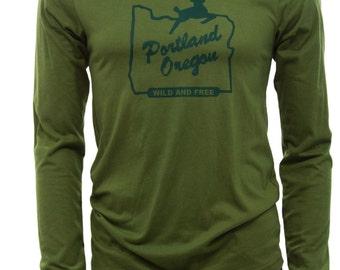Portland Oregon wild and Free    Lightweight long sleeve T Shirt   Soft   Unisex