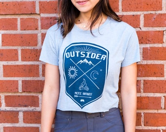 Outsider | Crop T Shirt | Soft T shirt | Travel tees | Pacific Northwest | Outdoor | Nature tees | Cropped top | Sizes XS - XL