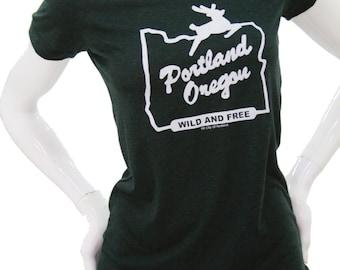 Made in Oregon Sign - Portland Oregon Wild & Free - Soft lightweight t shirt - Scoop and Vneck