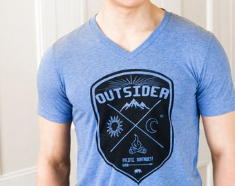 Outsider - PNW | Soft Lightweight T Shirt | Crew and V-neck | Pacific Northwest Tshirt.