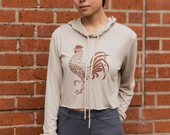 Rooster | Long sleeve cropped hoodie | Lightweight hoodie | Soft | Sizes S - L