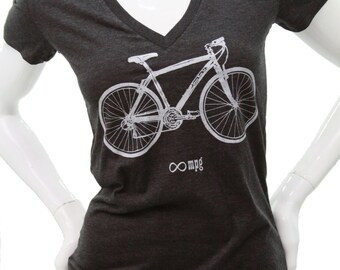 Bicycle | Soft Fitted T Shirt| Slim fit| Infinite MPG| art by MATLEY| Gift for her| Bike| Cyclist| Zen.