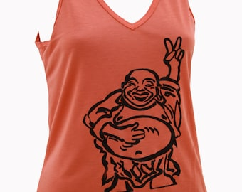 Hotei - Happy Lucky Buddha | V-neck tank top