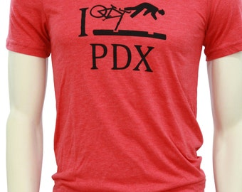 I Bike PDX - Soft Lightweight T shirt - Unisex Crew & V-neck - Portland, OR