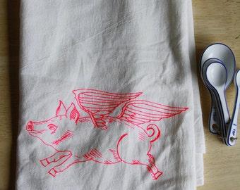 Flying Pig. Made in USA hand towels. Tea Towel. Flour Sack Towel. Dish Towel. Housewarming gifts. Pig. Farm Animal. Art by MATLEY. set of 4.