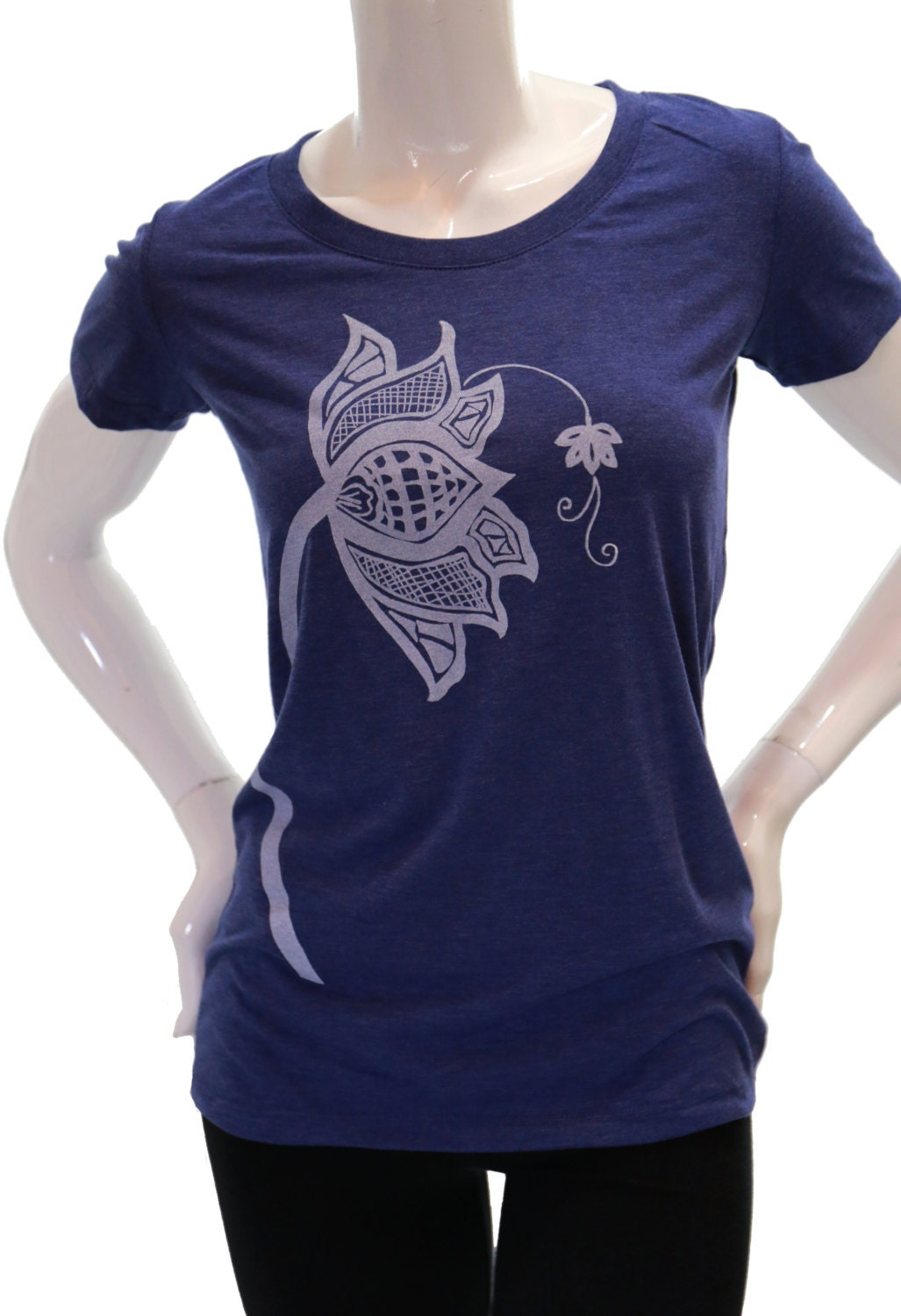 Lotus Flower Fitted T Shirt Womens Soft Tee Scoop V Neck
