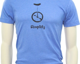 Unicycle Bike - Soft Lightweight T Shirt - Crew and V neck - Simplify - Bicycle