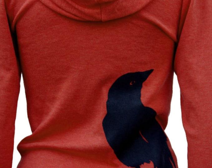 Featured listing image: Crow bird   Full zip Soft Lightweight hoodie   Nevermore   Unisex sizes XS - XXL   Raven