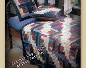 Crochet Afghan Log Cabin Pattern - PDF 022288A in English