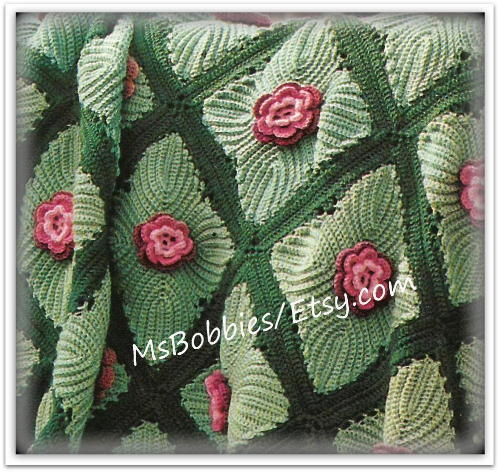 Crochet Irish Rose Afghan Pattern Vintage Pattern Pdf Etsy