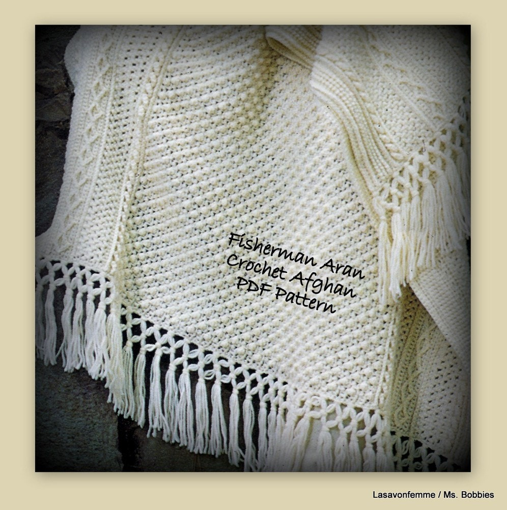 Fisherman Crochet Afghan Pattern PDF 0309106A Aran Crochet