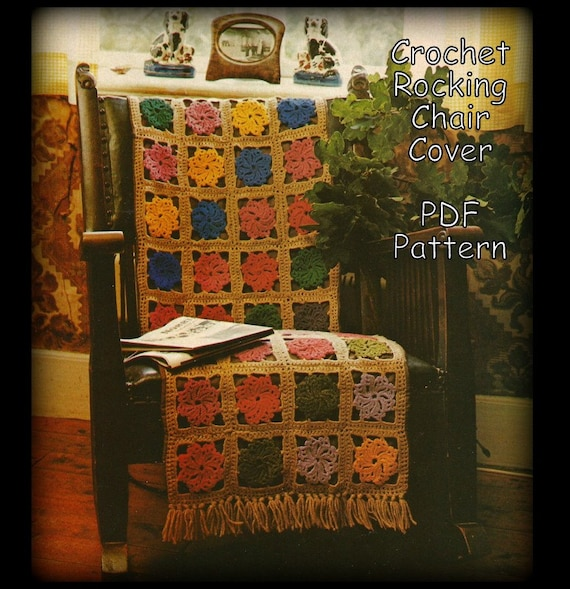 Items Similar To Crochet Rocking Chair Cover Pattern Swirl Motifs