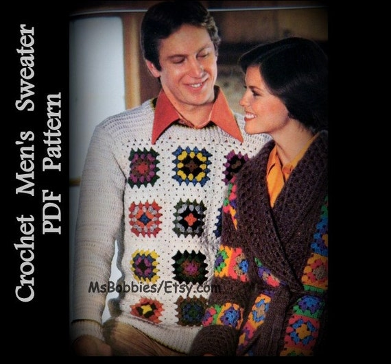Mens Crochet Sweater Pattern Granny Square Pullover Sizes 36 To