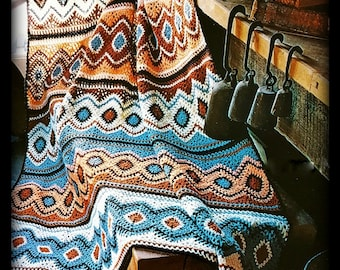Crochet Afghan Pattern  PDF Pattern No. 01230215 - English Afghan Pattern