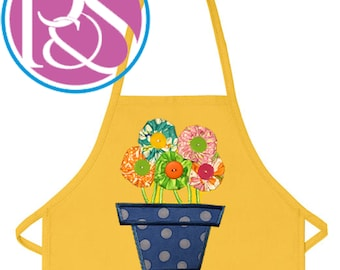 Cheery bright yellow cotton apron 1978 with kitchen scene flowers pots pans