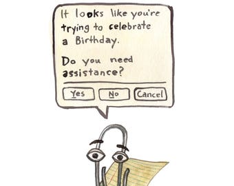 Clippy Birthday Card - Microsoft Word Paperclip Greeting Card - Birthday Card With Annoying MS Office Paperclip