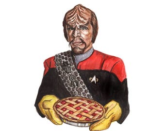 Today is a Good Day For Pie - Worf Star Trek Card - Pi Day Birthday Funny Nerdy Pun - Watercolor Illustration - Next Generation Funny Card