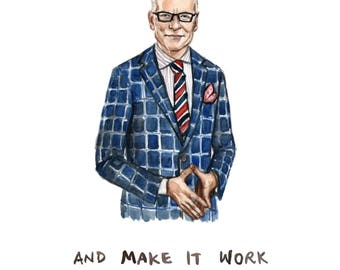 Stick to your Gunns and Make it Work - Tim Gunn Pun Illustration Print - Project Runway Portrait Painting - 8x10 5x7 11x14