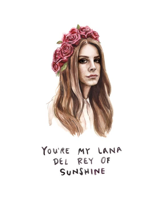Lana Del Rey Of Sunshine Funny Card Bad Pun Watercolor Etsy