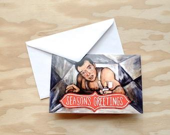 John McClane - Die Hard Christmas Card - Bruce Willis - Crawling Through The Air Vent Painting