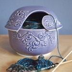 yarn bowl with scrolls in Lavender
