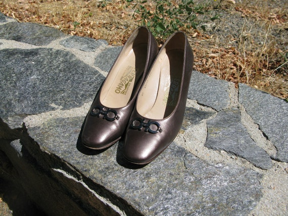 Vintage 1960's-70's Dark Silver Leather Ferragamo