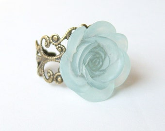 Pastel Blue Antique Brass Filigree Ring/Brass Filigree Ring/Antique Brass Flower Filigree Ring /Blue Flower Ring/Flower Ring