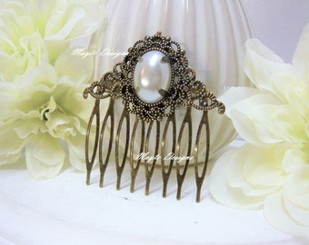 Pearl Hair Comb/Vintage Pearl Antique Brass Filigree Bridal Hair Comb/Bronze Filigree Decorative Hair Comb/Filigree Comb With Vintage Pearl