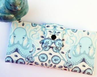 Octopus wallet,  iphone clutch, vegan wallet, womans clutch wallet, octopus gift, checkbook wallet, slim wallet, handmade wallet, gift