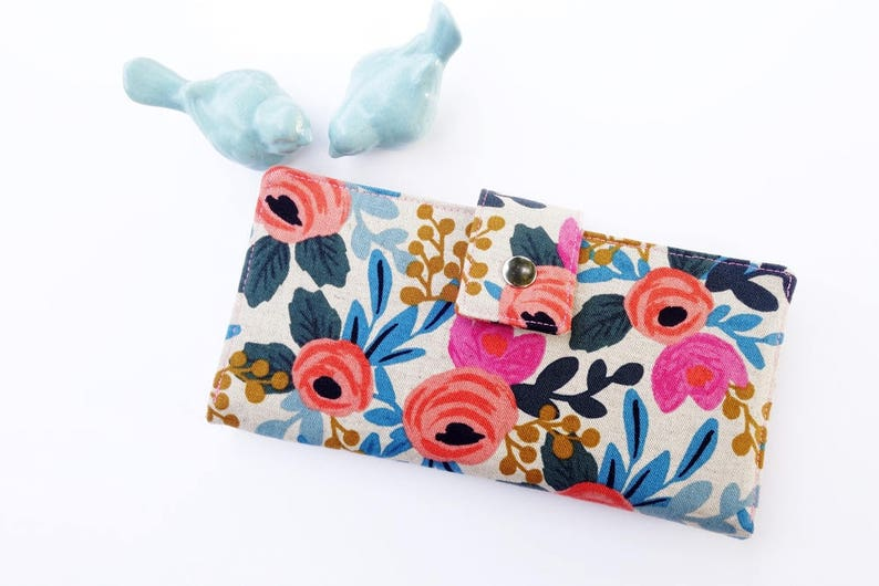 Women's Wallet-Floral wallet-Linen wallet-Wallet for image 0