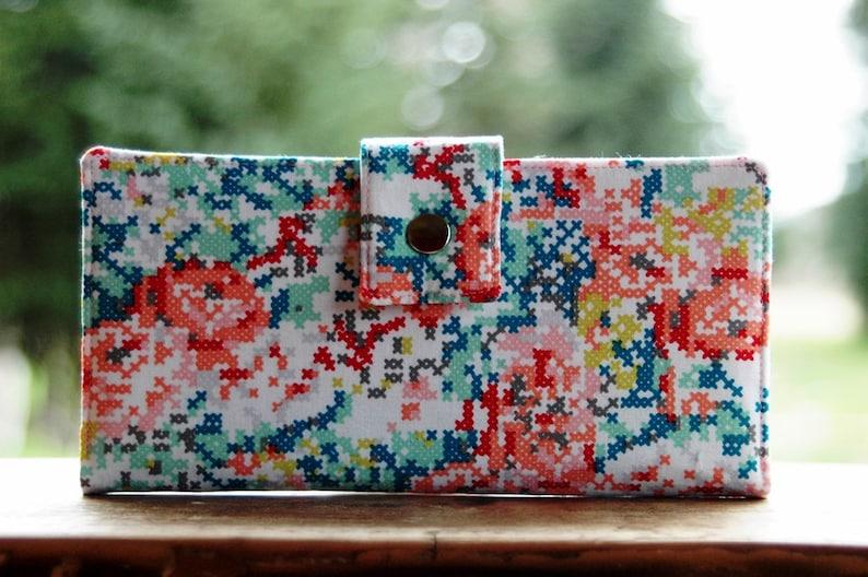 Womens clutch Wallet handmade custom clutch in a cross stitch image 0