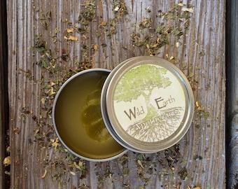 Organic Herbal Healing Salve. Chemical free salve heals bug bites, bee stings, minor cuts, burns, rashes, bruising, and scars.