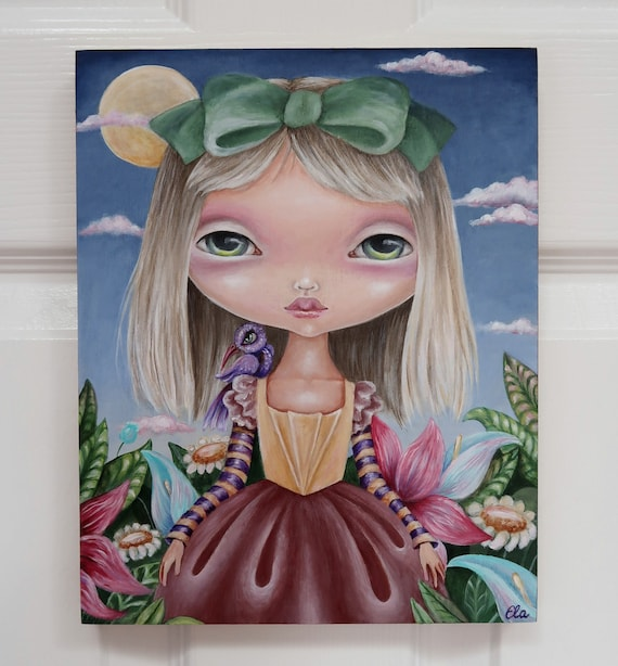 Garden Of Delights 8x10 Original Acrylic Painting On Wood Art Big Eyes Girl Fantasy Princess Surreal Flowers Ooak