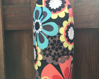 Large Mod Retro Flowers in  Blue Red Pink and Yellow on Black Background  Plastic Grocery Bag Holder,