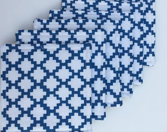 Fabric Coasters Blue and White Lattice Style Pattern, Set of Six