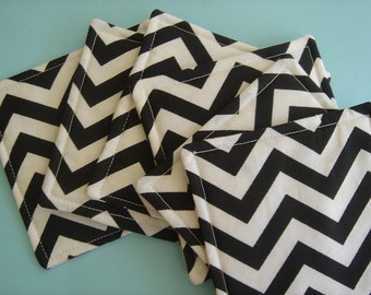 Fabric Coasters Reversible Black and White Chevron Stripes Six