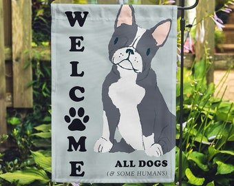 Welcome Dog Paw Print Yard Garden Flag | Fun Welcome Flag | Dog Lover Gift Home Welcome Sign | Frenchie Dog Gift