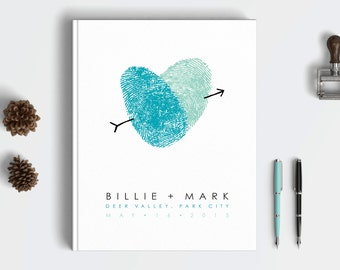 Wedding Guest Book Traditional Wedding GuestBook Thumbprint Heart Wedding Decor Wedding Guest Book for Wedding Fingerprint Wedding Book