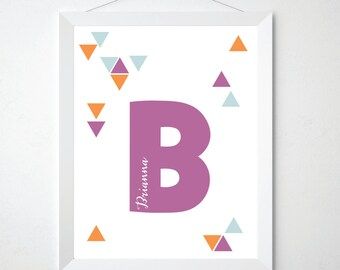 Modern Children Wall Art Personalized Name Print Baby Modern Girl Wall Art Purple Kids Wall Art Name Sign Tribal Nursery Decor Girls Room