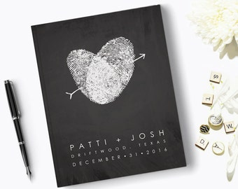 Chalkboard Wedding Guest Book, Fingerprint Guestbook Modern Thumbprint Heart Personalized Book, Guests Sign In Signatures, Black and White